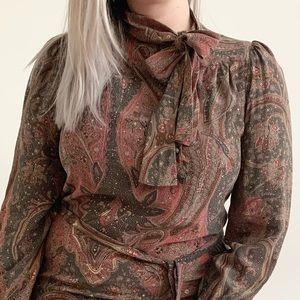 Vintage Gloria Vanderbilt Floral Silk Dress